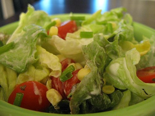 ... Tomato, Corn, and Butter Lettuce Salad with Buttermilk Chive Dressing