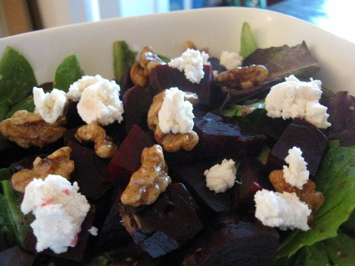 Raw, Vegan Beet and Goat Cheese Salad