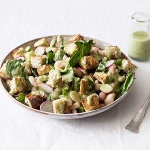 White Bean Panzanella with Creamy Avocado Dressing