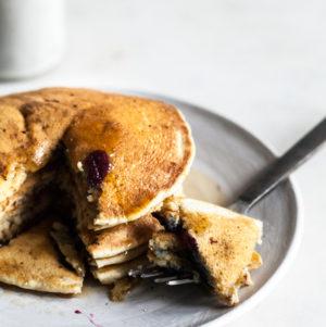 Easy Vegan Whole Wheat Blueberry Pancakes