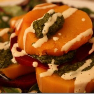 Butternut Squash and Beet Stacks with Pesto and Cashew Cream