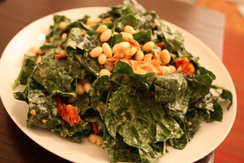 Kale and White Bean Salad with Caesar Dressing