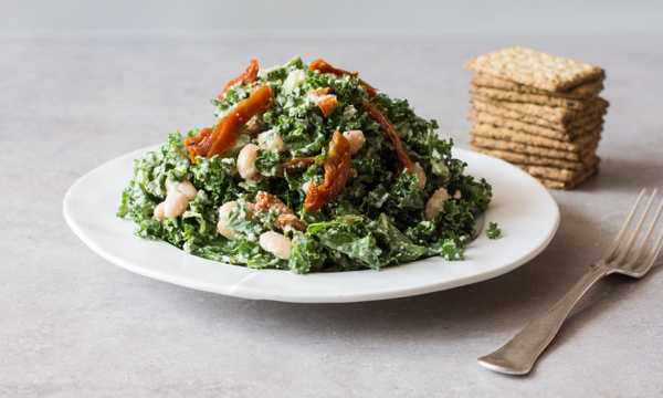 Vegan Kale & White Bean Caesar Salad | The Full Helping