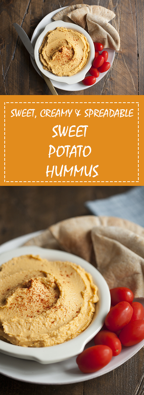 Creamy, dreamy, spreadable sweet potato hummus | Vegan and crowd-pleasing! |The Full Helping