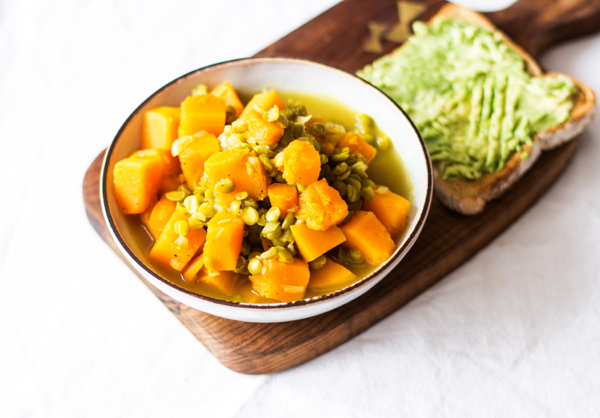 Curried Butternut Squash and Split Pea Soup | The Full Helping