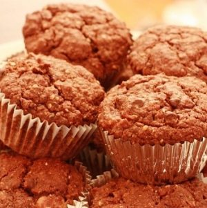 Gluten Free, Vegan Double Chocolate Chia Chip Muffins