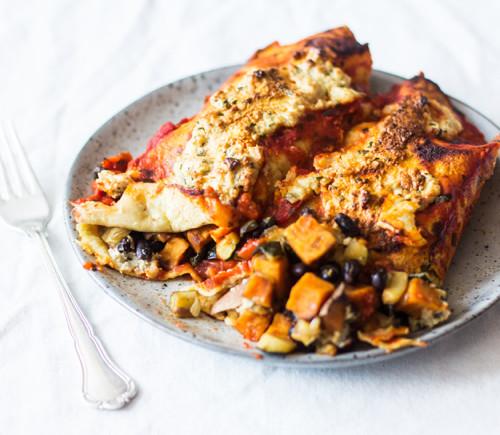 Vegan Sweet Potato Black Bean Enchiladas | The Full Helping
