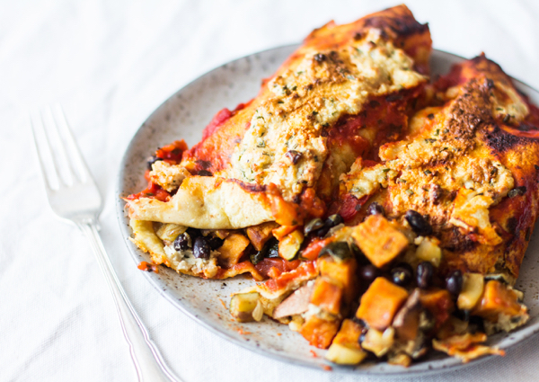 Vegan Sweet Potato Black Bean Enchiladas | The Full Helping