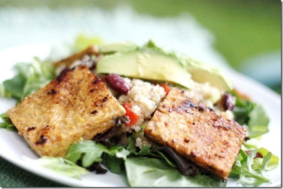 Quinoa and Bean Salad with Spicy Seared Tempeh and Cumin Vinaigrette