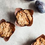 Whole Grain Vegan Plum Muffins