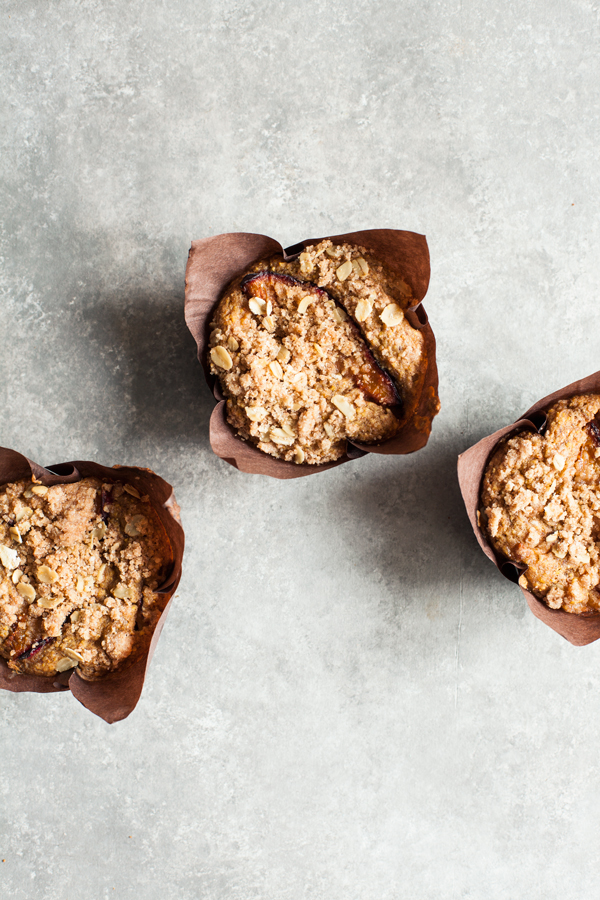 Whole Grain Vegan Plum Muffins | The Full Helping