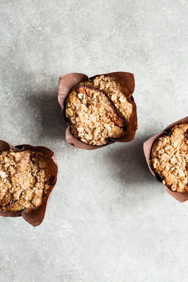Whole Grain Vegan Plum Muffins | The Full Helping