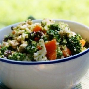 Broccoli and Cauliflower Salad with Creamy Asian Dressing and Raisins