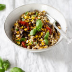 Roasted Barley, Corn, and Raddichio Salad with Balsamic Reduction