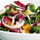 Kale Salad with Orange, Radicchio and Fennel; Orange Miso Vinaigrette