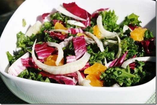 Kale Salad with Orange, Radicchio and Fennel; Orange Miso Vinaigrette