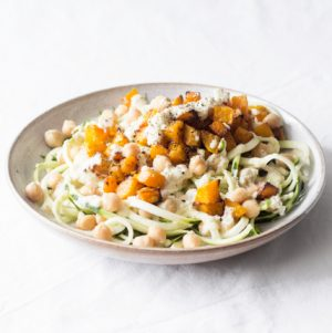 Zucchini Noodles with Butternut Squash and Creamy Garlic Sauce