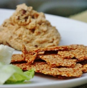 Snack Attack: Sundried Tomato Hummus with Flax Crackers