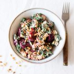 Creamy Fusilli with Beets, Kale, and Toasted Pine Nuts