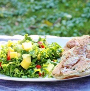 Mung Bean Pancakes with Mustard Sauce and Mango Kale Avocado Salad