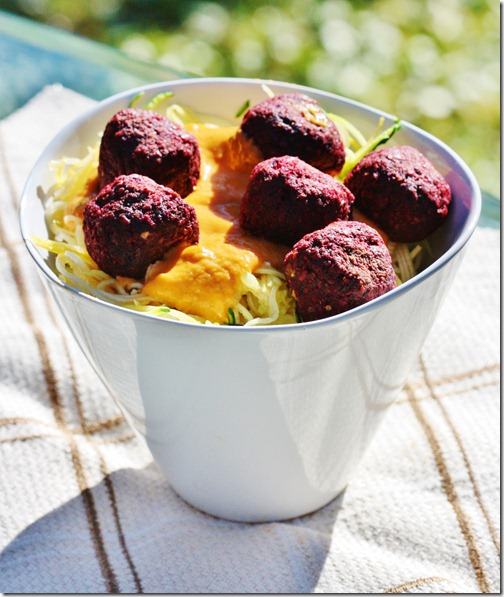 Raw Spaghetti and Beet Balls