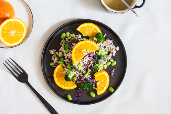Brown Rice, Edamame, and Broccoli Salad with Citrus Miso Dressing | The Full Helping