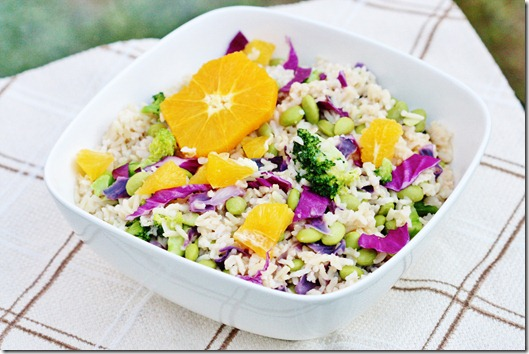Brown Rice, Edamame, and Broccoli Salad with Citrus Miso Dressing