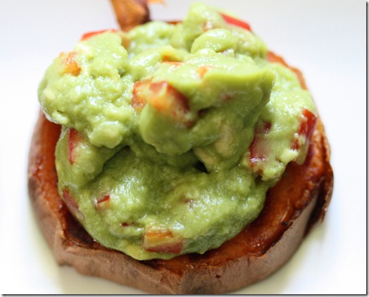 Chili-Rubbed Sweet Potato Rounds with Guacamole