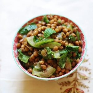 Brown Lentil, Cucumber, and Mint Salad