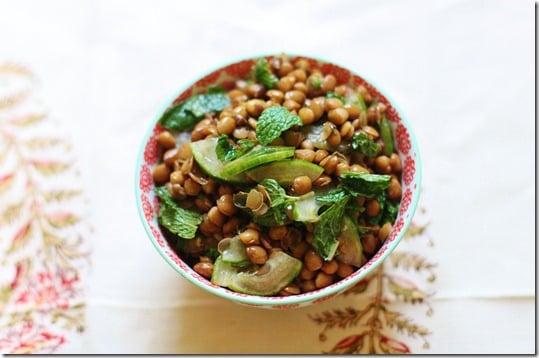 Brown Lentil, Cucumber, and Mint Salad