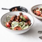 Zucchini Alfredo with Cherry Tomatoes, Basil, and Seared Tempeh | The Full Helping