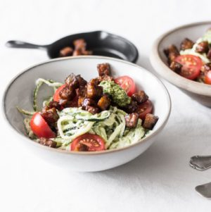 Zucchini Alfredo with Cherry Tomatoes, Basil, and Seared Tempeh