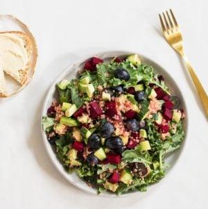 Grape, Avocado, and Baby Kale Salad with Quinoa