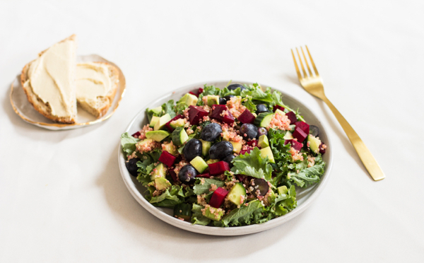 Grape, Avocado, and Baby Kale Salad with Quinoa | The Full Helping