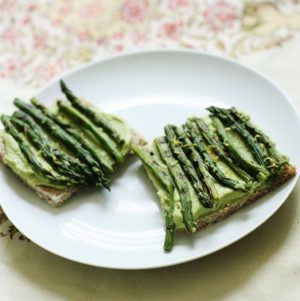 Spring Tartine with Sweet Pea Hummus, Grilled Asparagus, and Lemon Zest