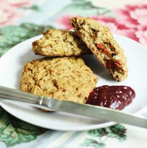Vegan, Gluten Free Almond and Goji Berry Scones with Raw Strawberry Goji Jam