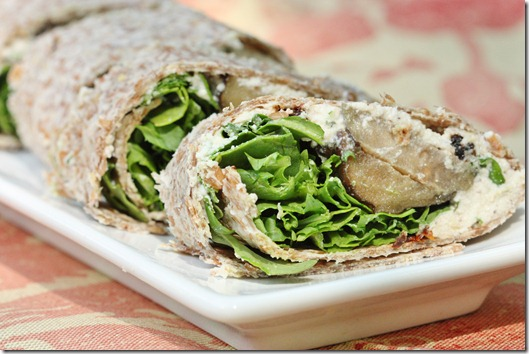 Eggplant and Arugula Wraps with Tomato Basil Cashew Cheese