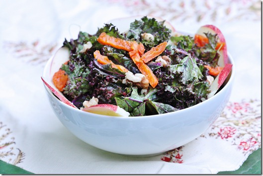 Purple Kale Salad with Creamy Apricot Ginger Dressing, Walnuts, and Apples