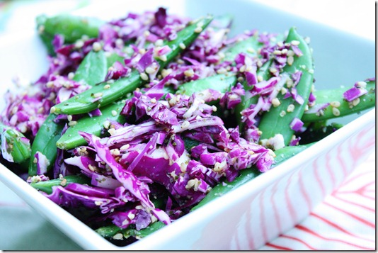 sugar snap pea and red cabbage salad