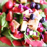 Berry, Spinach, & Seared Tempeh Salad with Raspberry Vinaigrette