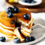 Vegan Lemon Cornmeal Blueberry Pancakes