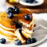 Vegan Lemon Cornmeal Blueberry Pancakes