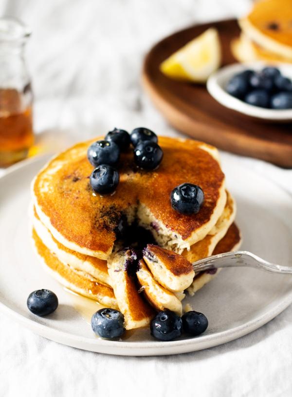 Vegan Lemon Cornmeal Blueberry Pancakes | The Full Helping