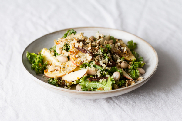 Kale Salad with Creamy Apricot Ginger Dressing   The Full Helping
