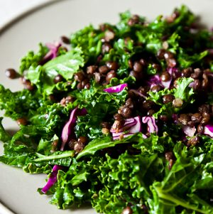 kale salad lentils and apricot vinaigrette