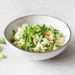 Parsnip Rice with Hemp Seeds, Spring Peas, and Basil