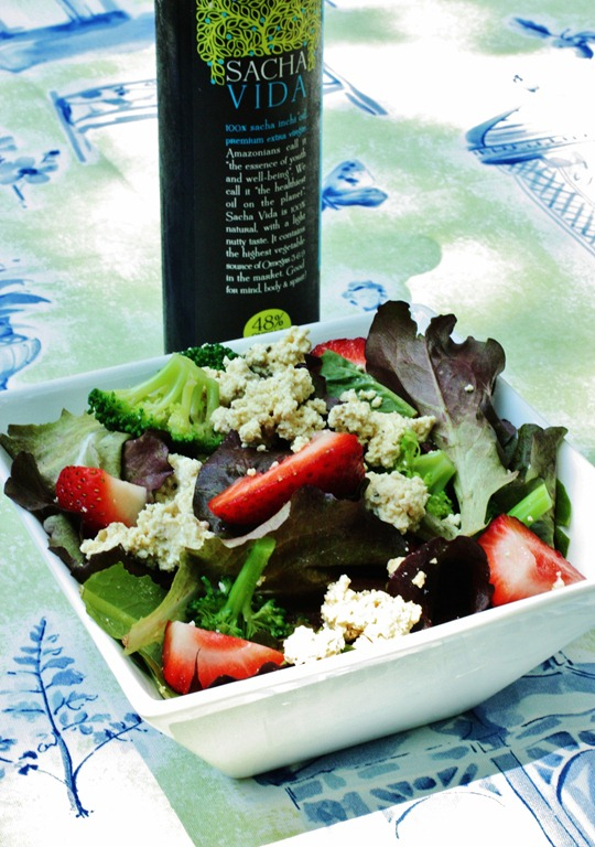 ... and a Strawberry Basil Salad with Tofu Ricotta and Balsamic Dressing