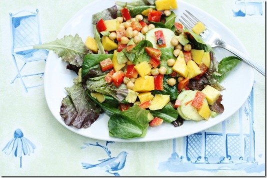 Mango, cucumber, avocado, curry salad