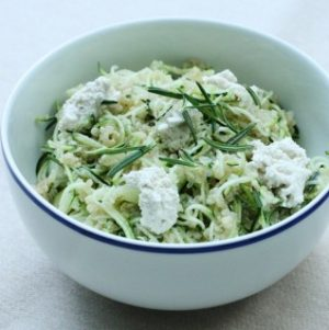 Hurry Up Vegan: Zucchini Noodle and Quinoa Bowl with Fresh Rosemary and Herbed Cashew Cheese