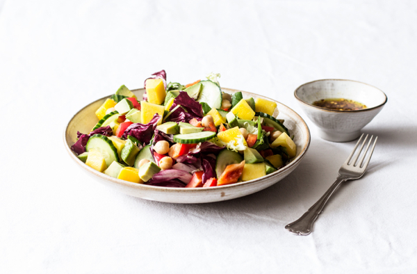 Summer Salad with Mango, Cucumber, Avocado, and Curry Vinaigrette | The Full Helping